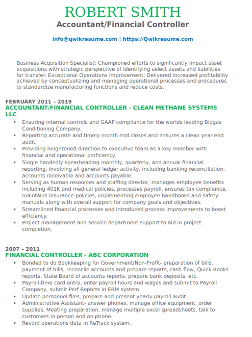 Financial Controller Resume Sample 2