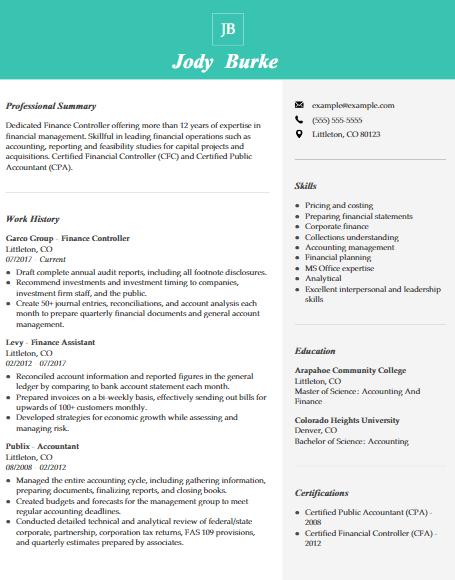 Financial Controller Resume Sample 4