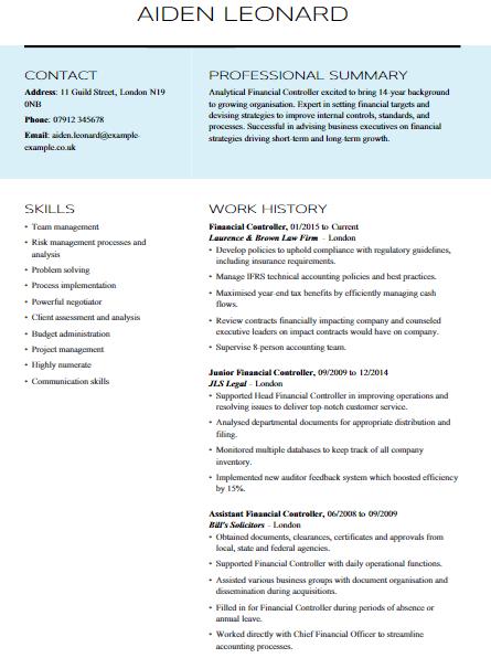 Financial Controller Resume Sample 6