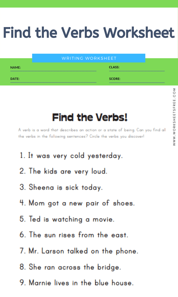 Find the Verbs Worksheet