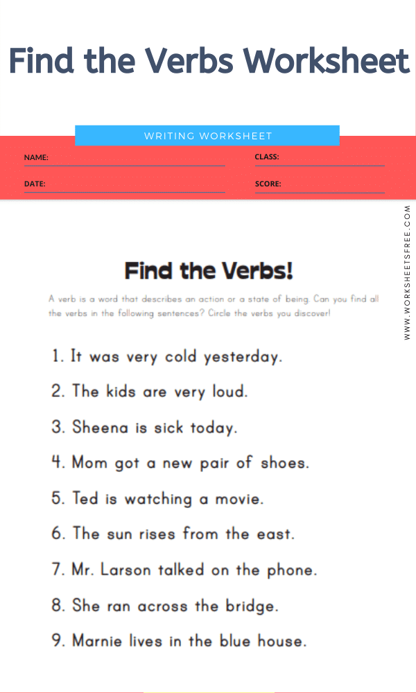 Find the Verbs Worksheet