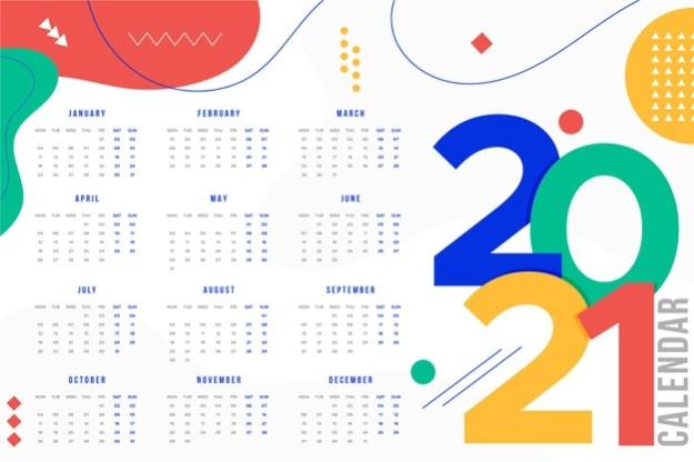 Flat design new year 2021 calendar Free Vector