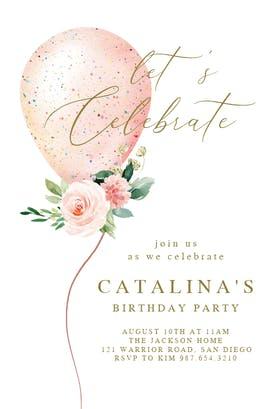Floral glitter balloon - Birthday Invitation