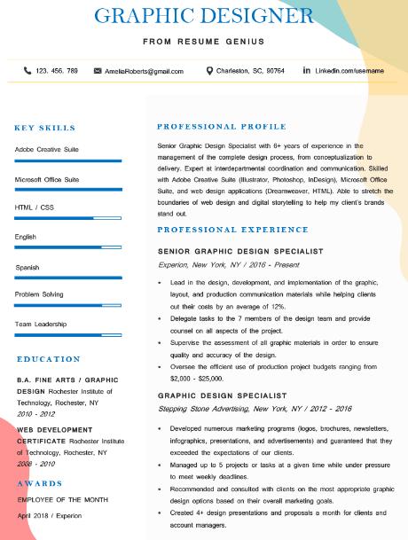 Graphic Designer Resume Sample 2