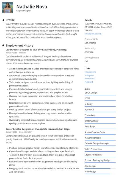Graphic Designer Resume Sample 4