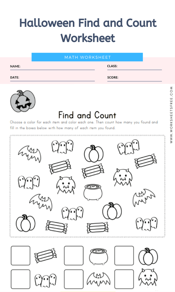 Halloween Find and Count Worksheet