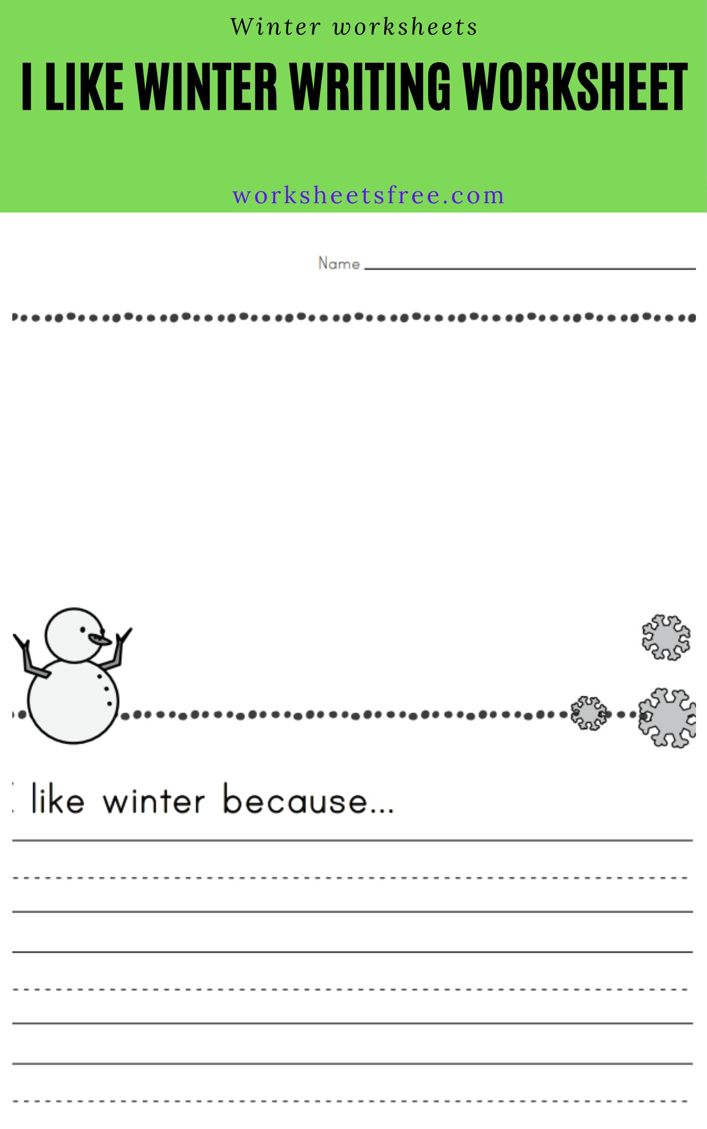 I Like Winter Writing Worksheet