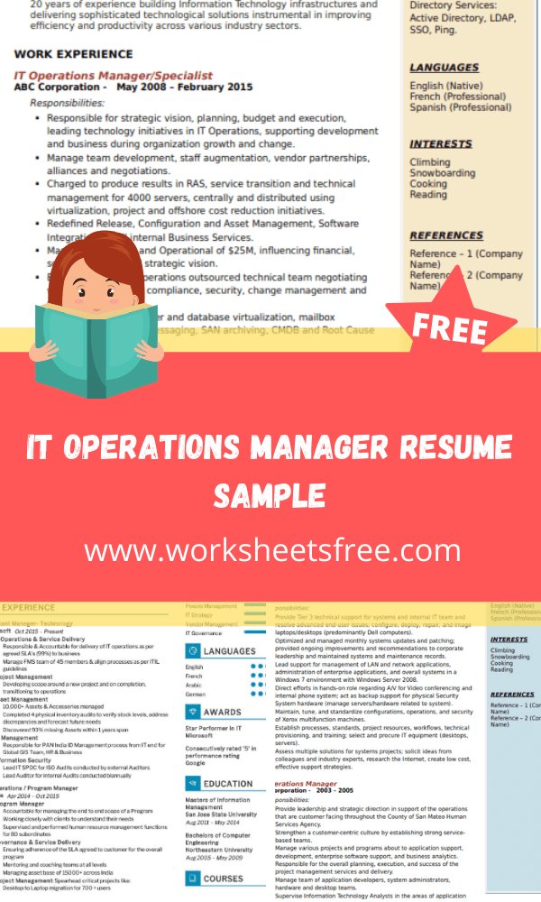 IT Operations Manager Resume Sample