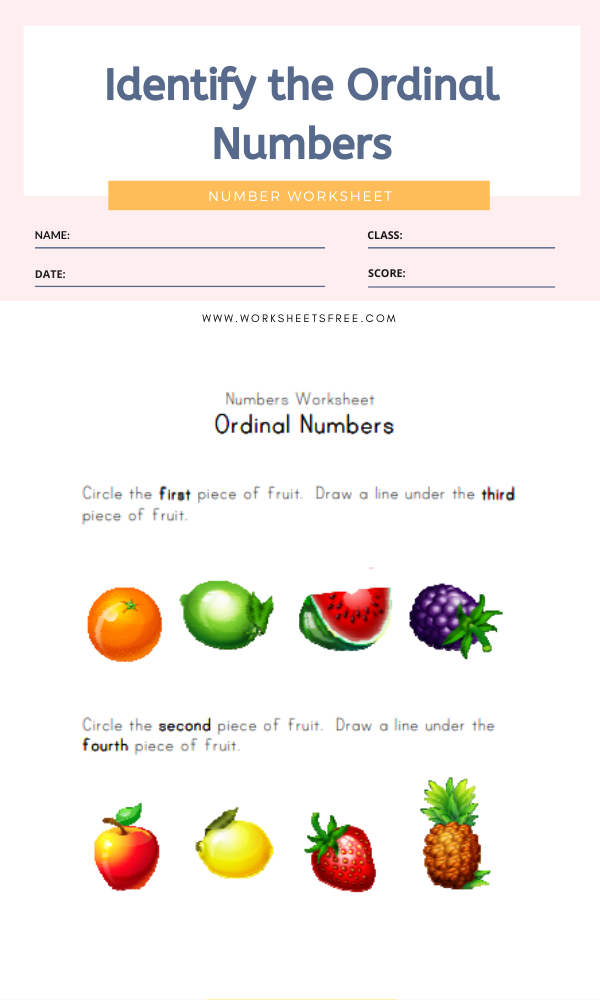 Identify the Ordinal Numbers