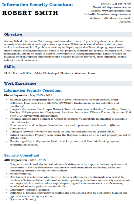 Information Security Consultant Resume Sample 4