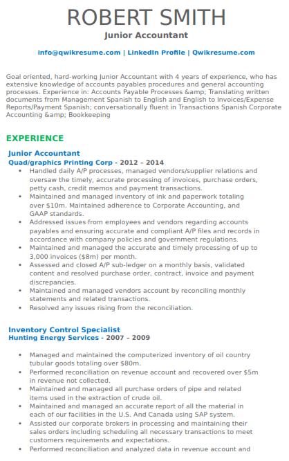 Junior Accountant Resume Sample 5