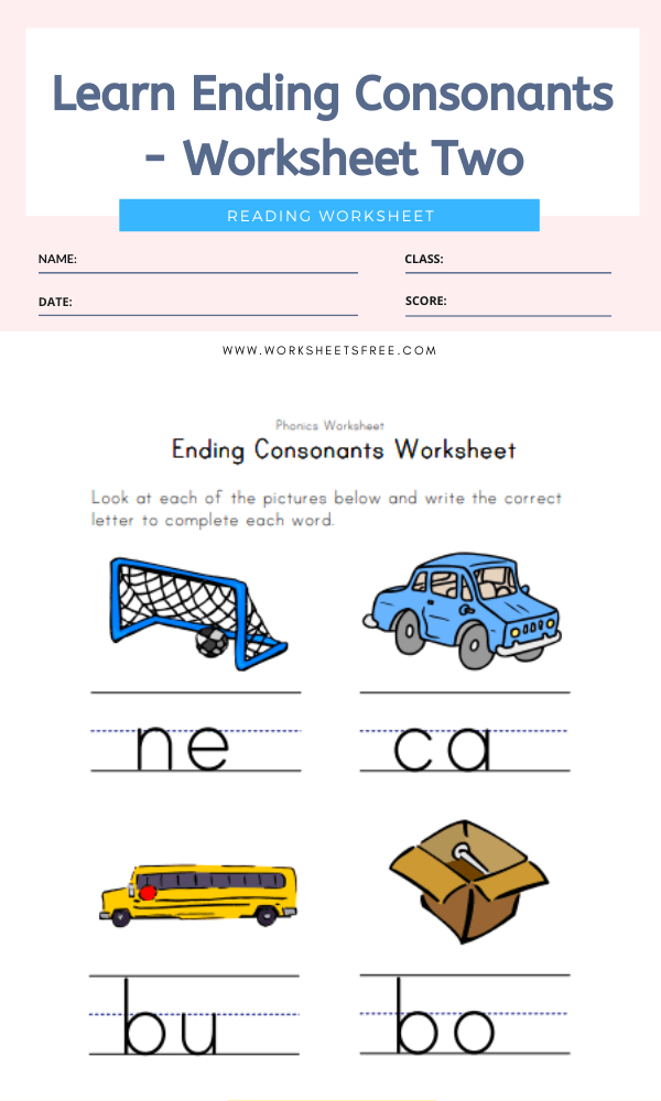 Learn Ending Consonants - Worksheet Two