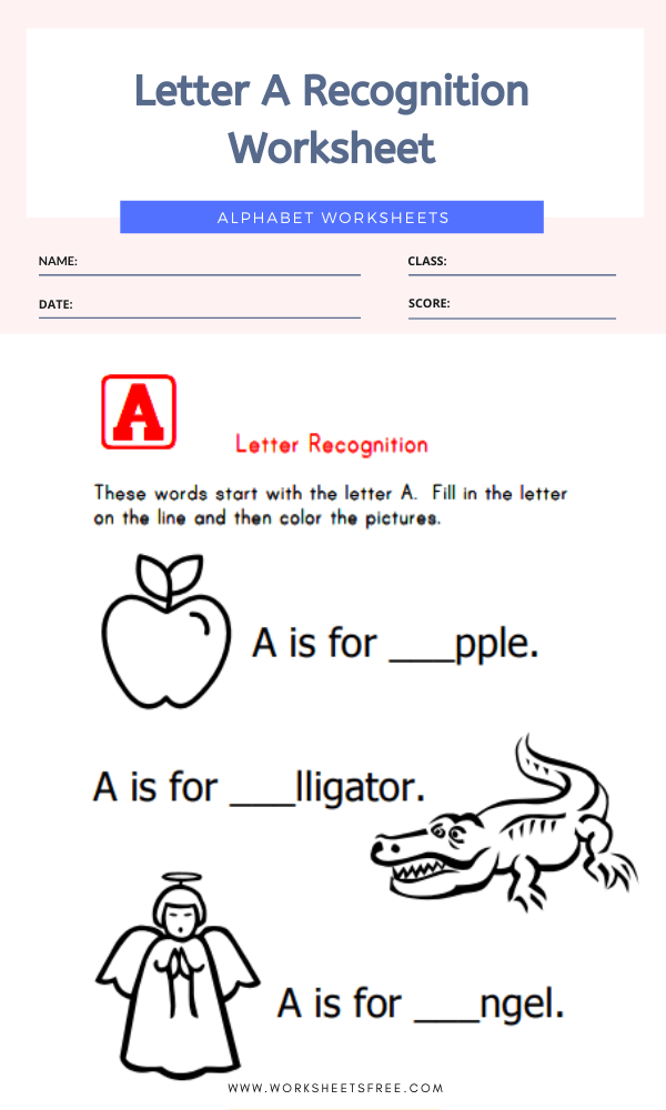 Letter A Recognition Worksheet