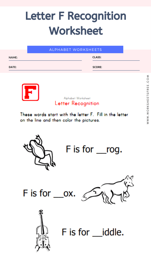 Letter F Recognition Worksheet