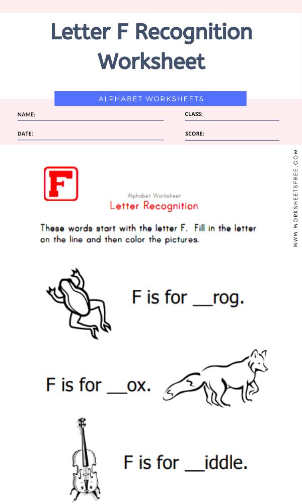 Letter F Recognition Worksheet