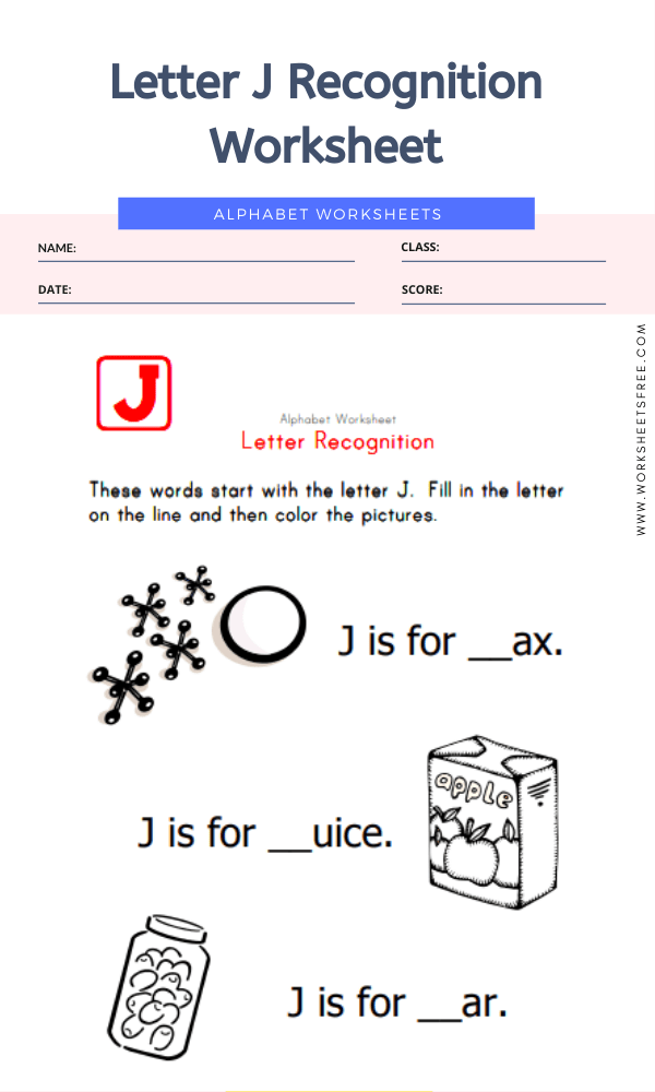 Letter J Recognition Worksheet
