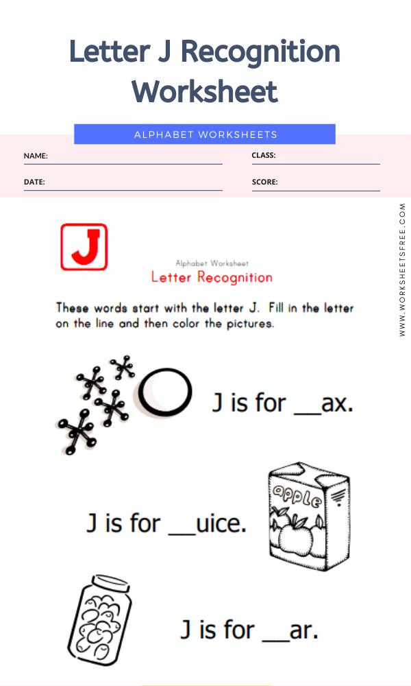 Letter J Recognition Worksheet