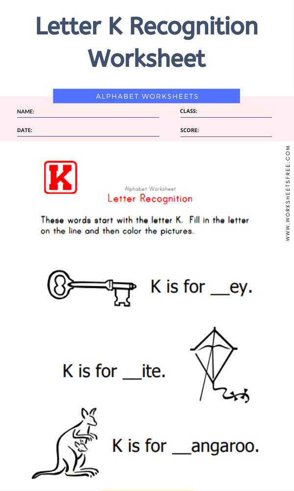 Letter K Recognition Worksheet