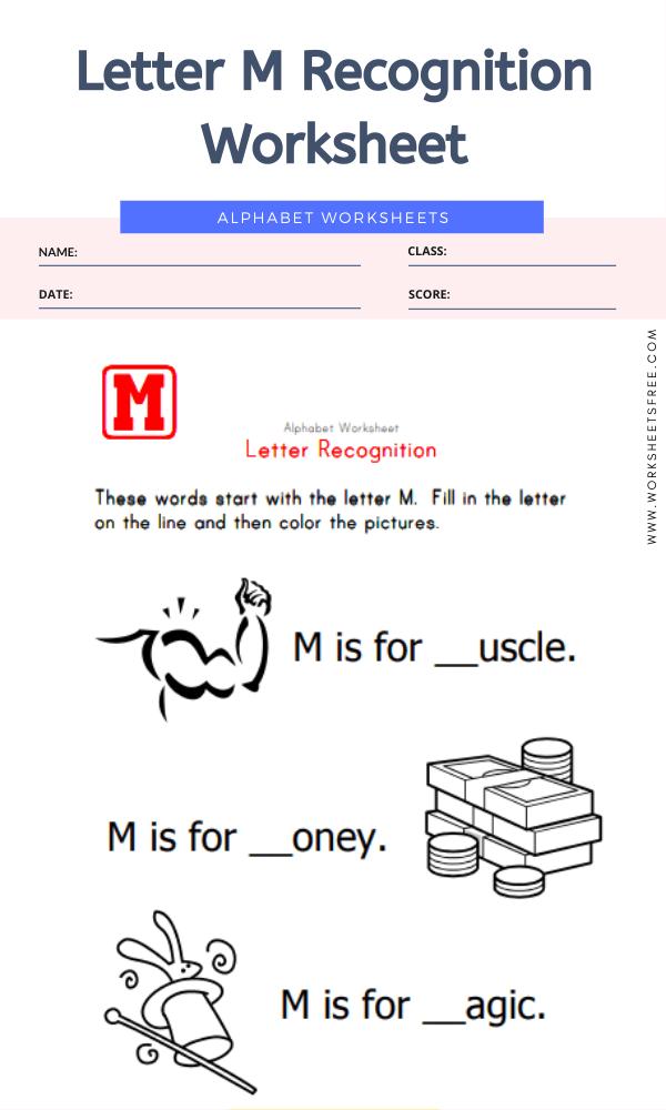 Letter M Recognition Worksheet