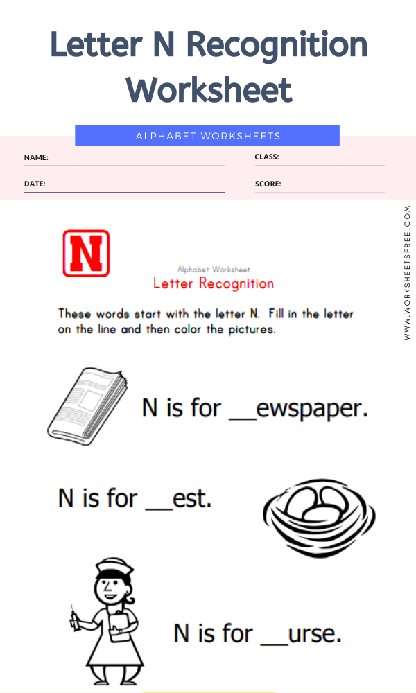 Letter N Recognition Worksheet