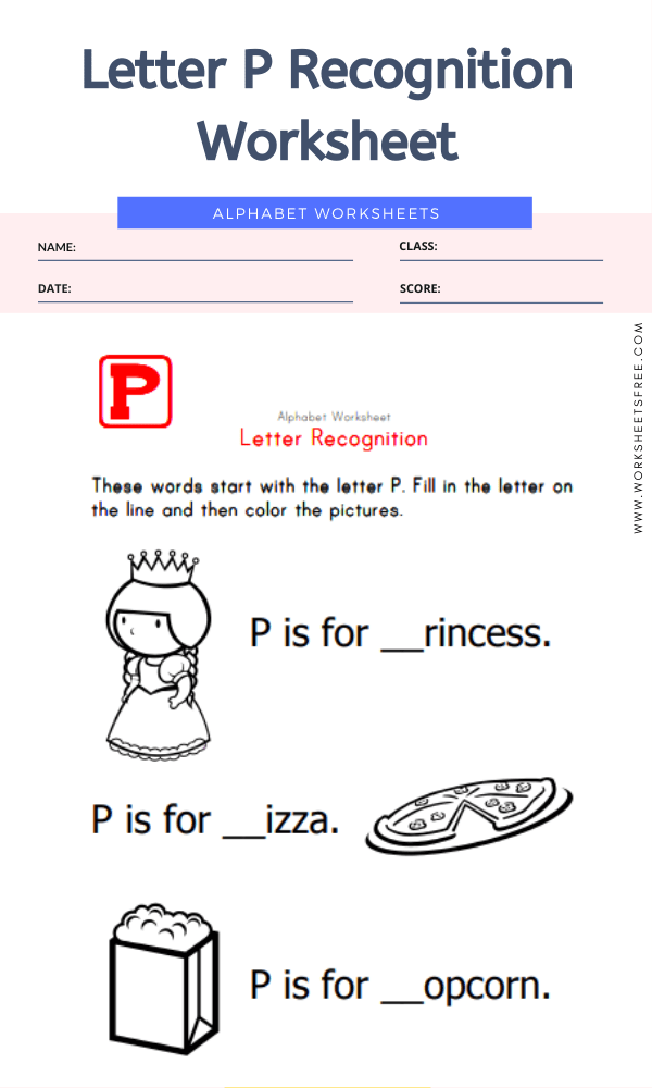 Letter P Recognition Worksheet