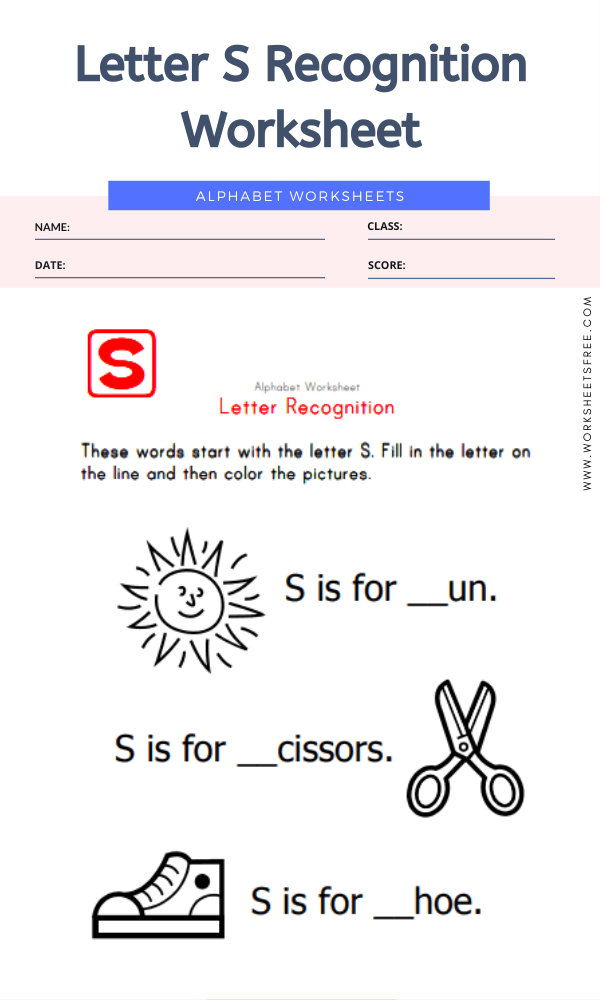 Letter S Recognition Worksheet