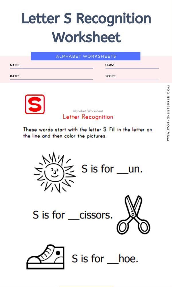 Letter S Recognition Worksheet