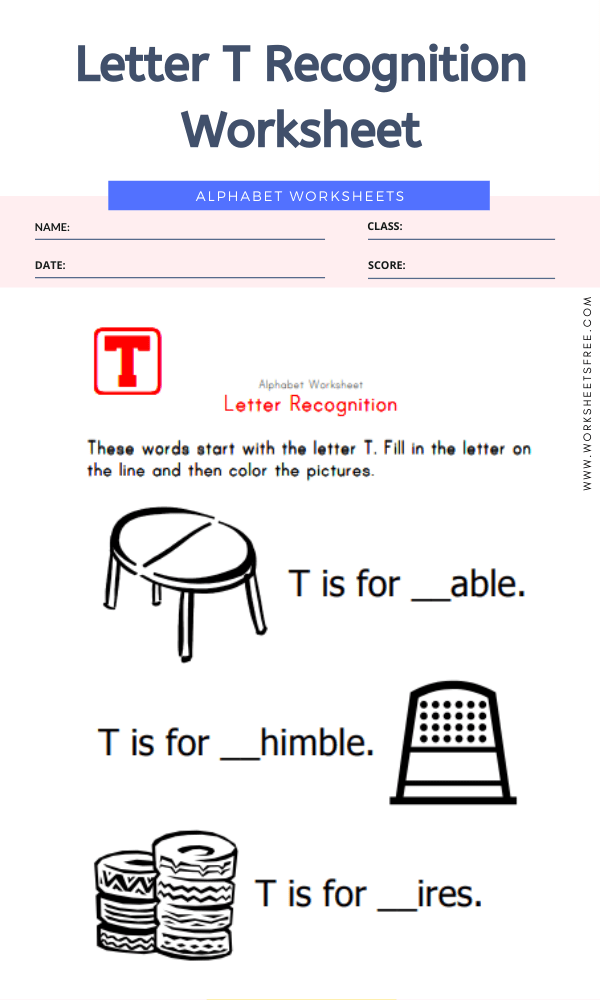 Letter T Recognition Worksheet