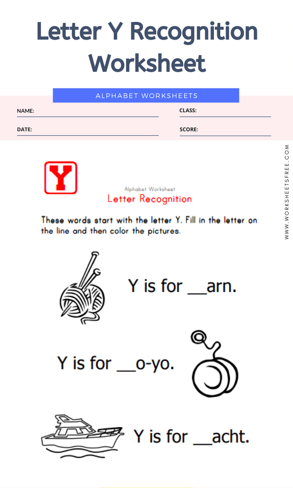 Letter Y Recognition Worksheet