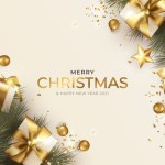 Merry christmas greeting card with realistic christmas decoration Free Vector
