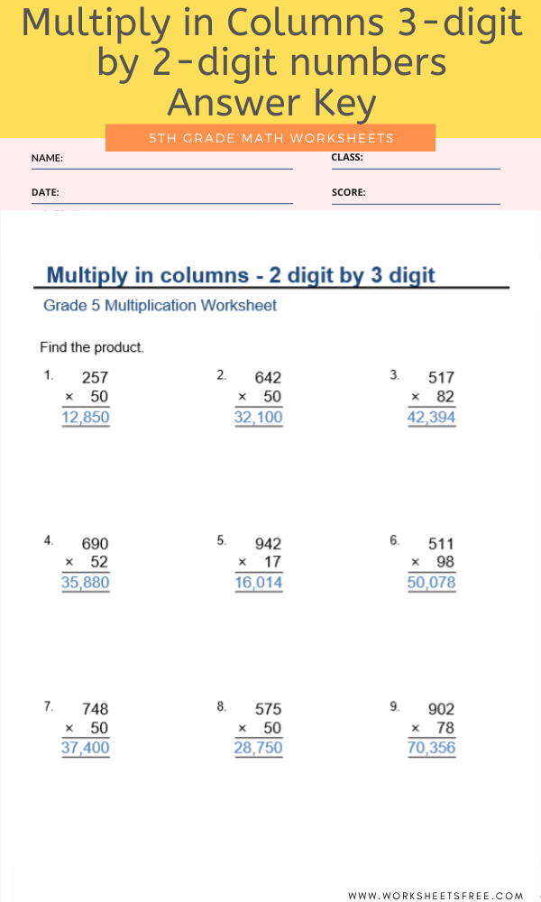 Multiply in Columns 3-digit by 2-digit numbers for Grade 5 with Answer Key
