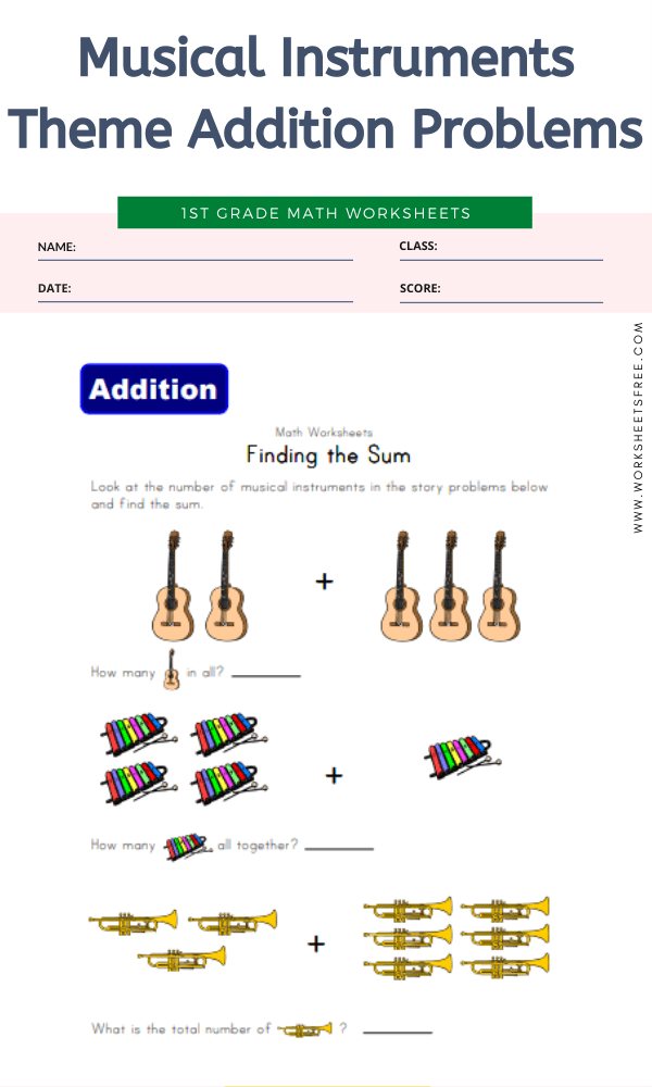 Musical Instruments Theme Addition Problems