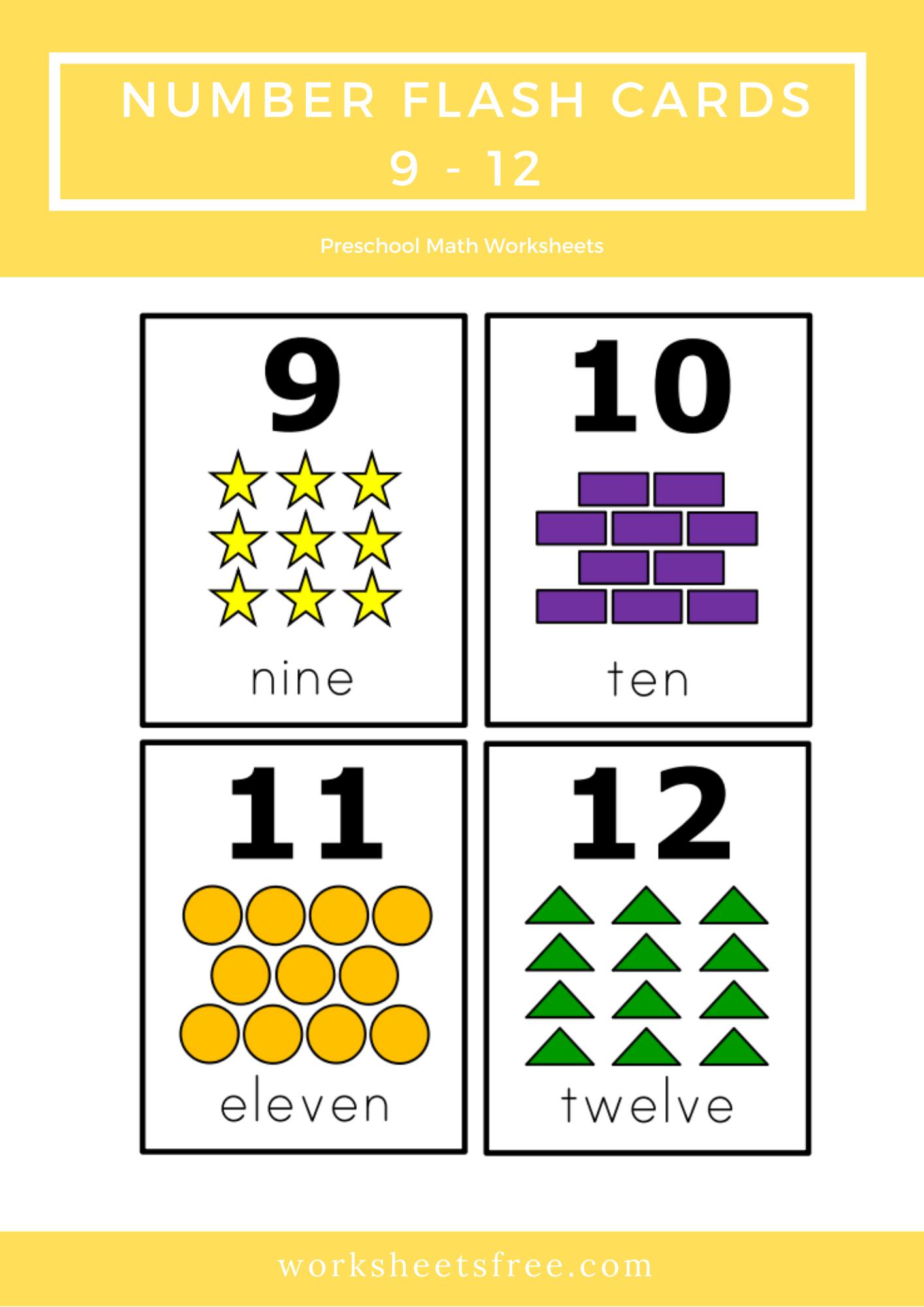 Number Flash Cards 9 12