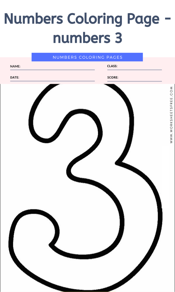 Numbers Coloring Page - numbers 3