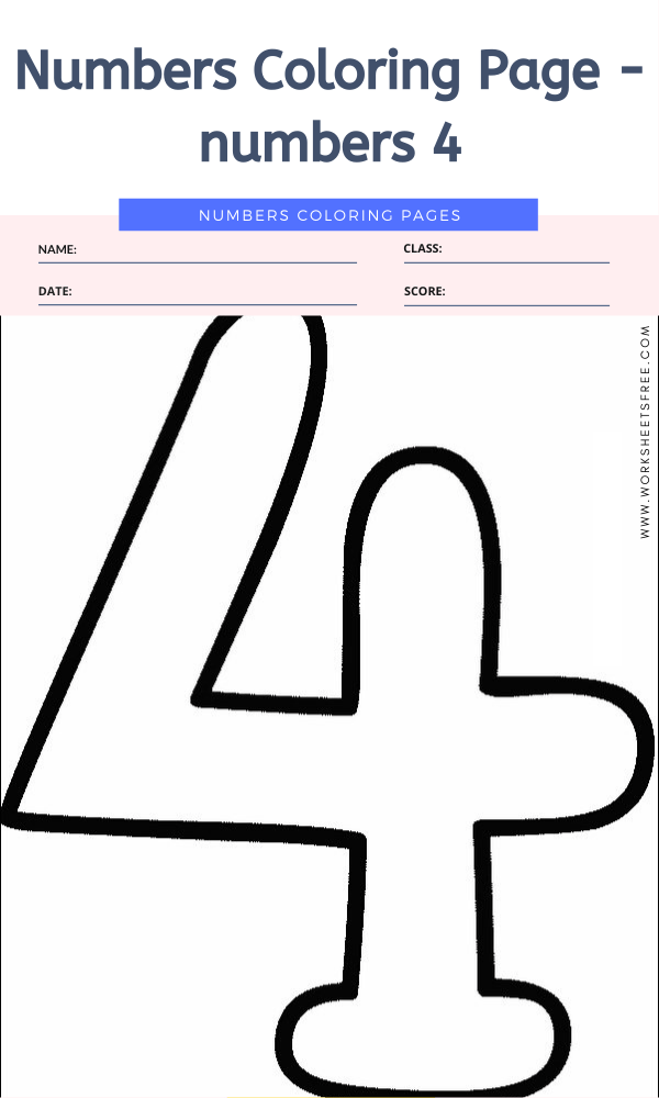 Numbers Coloring Page - numbers 4