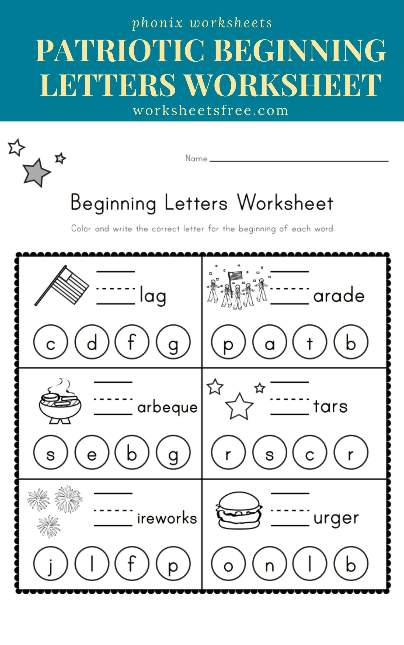Patriotic Beginning Letters Worksheet