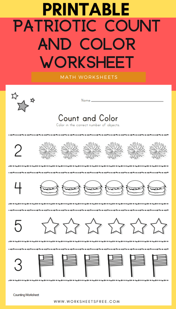 Patriotic Count and Color Worksheet