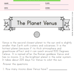 Planet Venus Worksheet