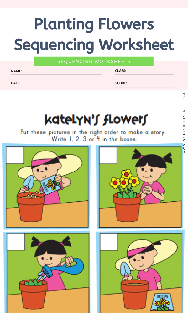 Planting Flowers Sequencing Worksheet