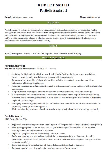 Portfolio Analyst Resume Example 2