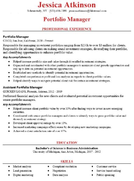 Portfolio Manager Resume Example 3