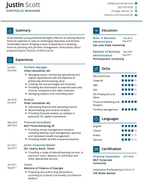 Portfolio Manager Resume Example 5