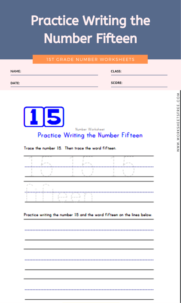 Practice Writing the Number Fifteen