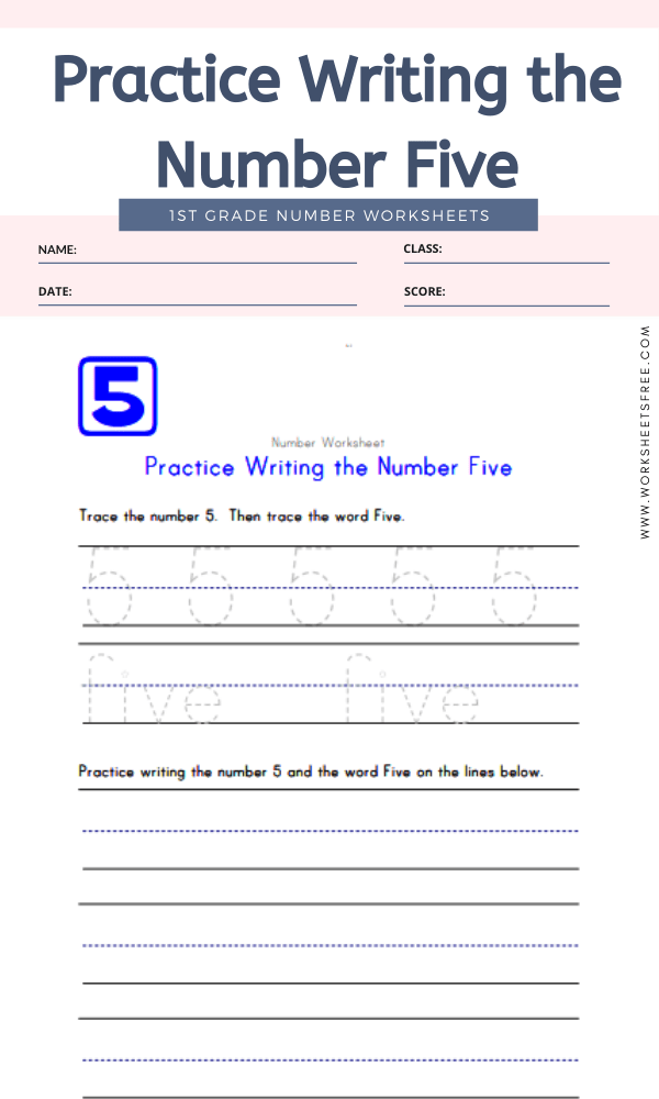 Practice Writing the Number Five