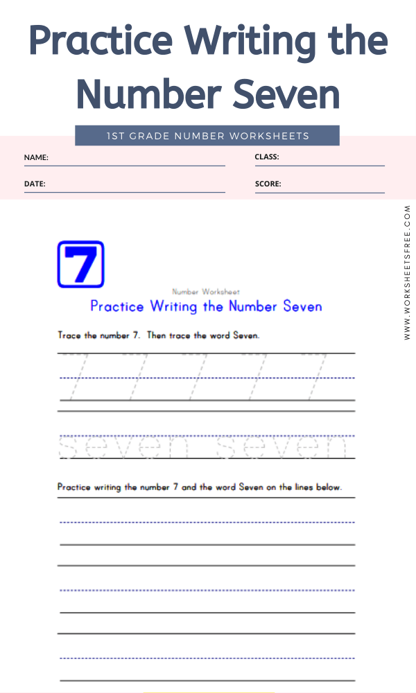 Practice Writing the Number Seven