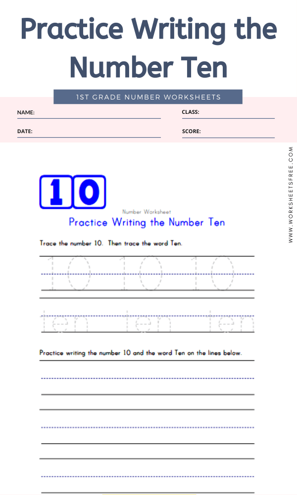 Practice Writing the Number Ten