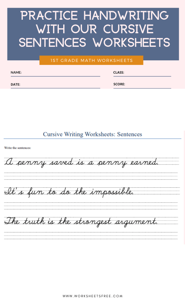 Practice handwriting with our cursive sentences worksheets