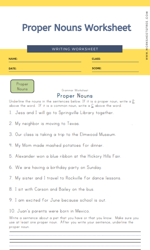 Categorize Nouns Worksheet