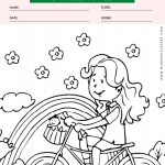 Riding Bike in Spring Coloring Page