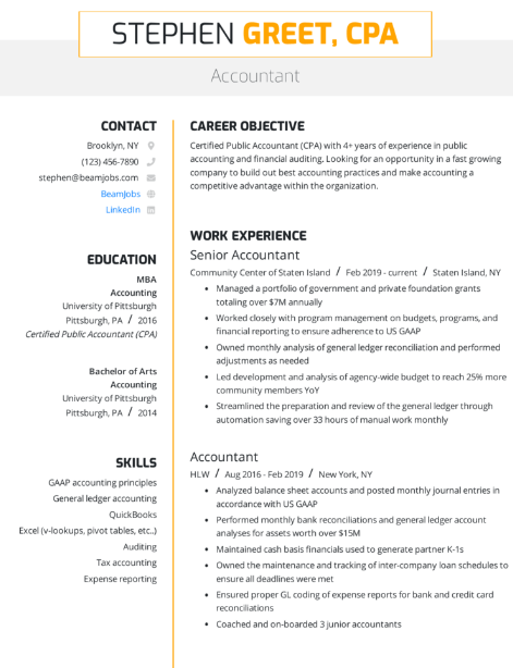 Senior Accountant Resume Example 2